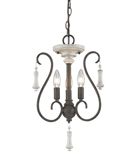 ELK 52020/3 Porto Cristo 3 Light 14 inch Birtch with Palermo Rust Chandelier Ceiling Light photo thumbnail