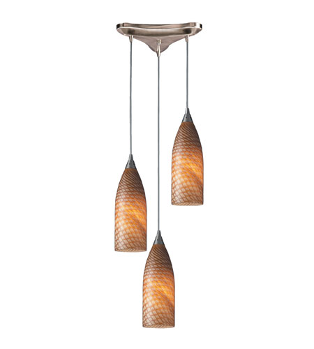 ELK 522-3C Cilindro 3 Light 10 inch Satin Nickel Pendant Ceiling Light in Cocoa Glass photo