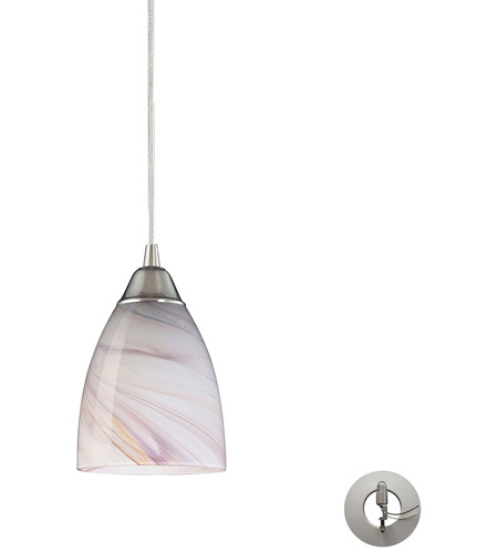 ELK 527-1CR-LA Pierra 1 Light 5 inch Satin Nickel Pendant Ceiling Light in Creme, Recessed Adapter Kit, Incandescent photo