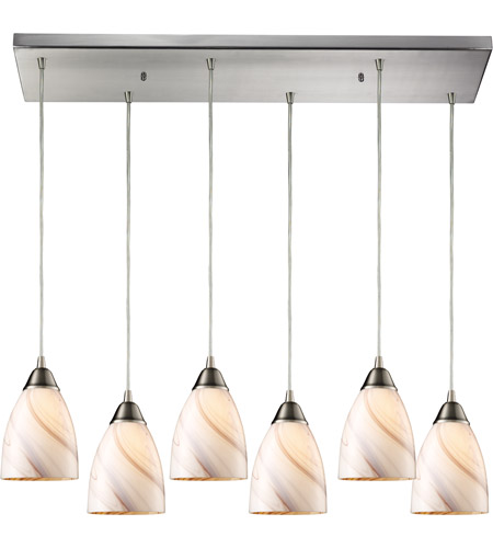 ELK 527-6RC-CR Pierra 6 Light 9 inch Satin Nickel Pendant Ceiling Light in Creme, Incandescent, Rectangular Canopy photo