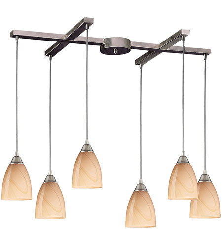 ELK 527-6SY Pierra 6 Light 33 inch Satin Nickel Pendant Ceiling Light in Sandy Glass photo