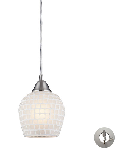 ELK 528-1WHT-LA Fusion 1 Light 5 inch Satin Nickel Pendant Ceiling Light in Incandescent, White Mosaic Glass, Recessed Adapter Kit photo