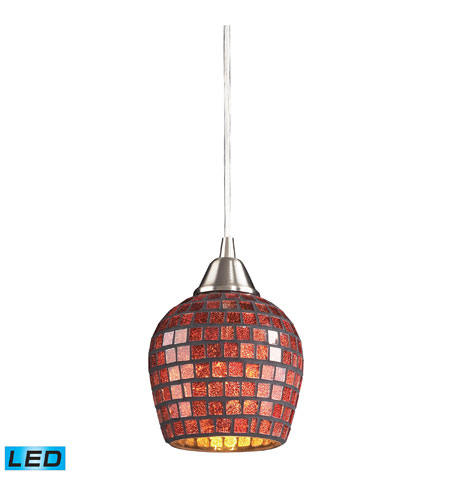 ELK 528-1CPR-LED Fusion LED 5 inch Satin Nickel Pendant Ceiling Light in Copper Mosaic Glass, Standard photo