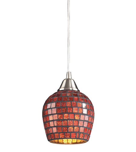 ELK 528-1CPR Fusion 1 Light 5 inch Satin Nickel Pendant Ceiling Light in Incandescent, Copper Mosaic Glass, Standard photo