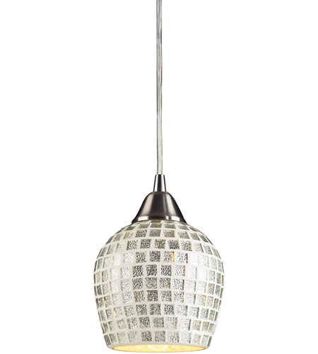ELK 528-1SLV Fusion 1 Light 5 inch Satin Nickel Pendant Ceiling Light in Incandescent, Silver Mosaic Glass, Standard photo