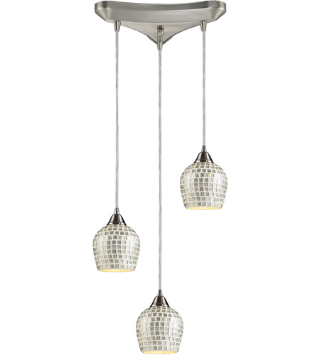 ELK 528-3SLV Fusion 3 Light 10 inch Satin Nickel Pendant Ceiling Light in Silver Mosaic Glass photo