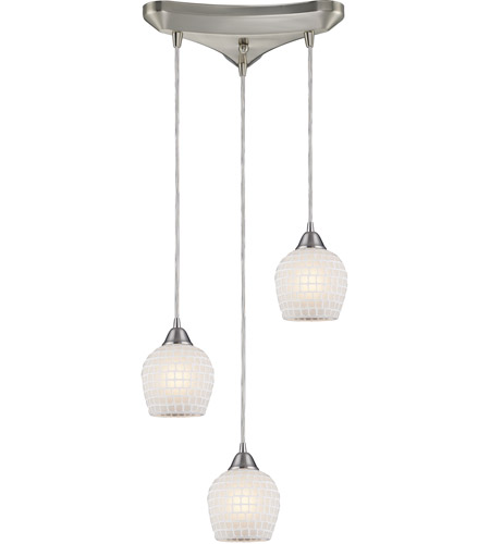 ELK Lighting Fusion 3 Light Pendant in Satin Nickel 528-3WHT photo