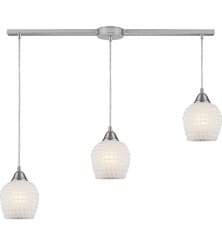 ELK 528-3L-WHT Fusion 3 Light 36 inch Satin Nickel Pendant Ceiling Light in White Mosaic Glass photo