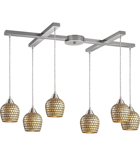 ELK 528-6GLD Fusion 6 Light 33 inch Satin Nickel Pendant Ceiling Light in Gold Leaf Mosaic Glass photo