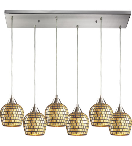 ELK Lighting Fusion 6 Light Pendant in Satin Nickel 528-6RC-GLD photo