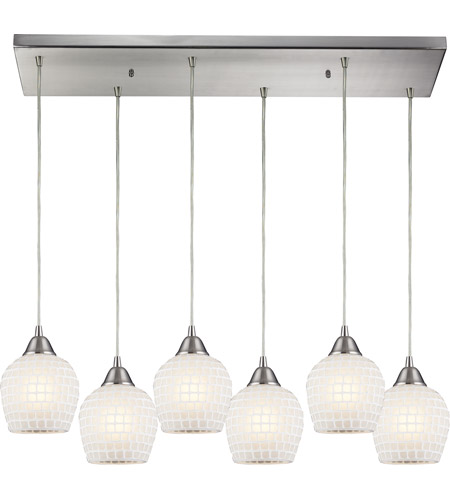 ELK 528-6RC-WHT Fusion 6 Light 30 inch Satin Nickel Pendant Ceiling Light in White Mosaic Glass photo