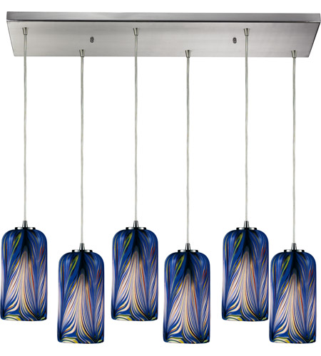 ELK 544-6RC-MO Molten 6 Light 30 inch Satin Nickel Pendant Ceiling Light in Molten Ocean Glass photo
