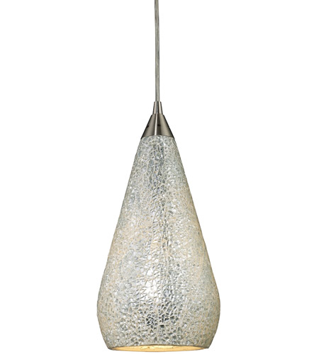 ELK 546-1SLV-CRC-LED Curvalo LED 6 inch Satin Nickel Pendant Ceiling Light in Silver Crackle Glass, Standard photo