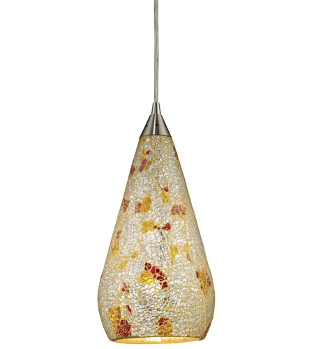 ELK 546-1SLVM-CRC Curvalo 1 Light 6 inch Satin Nickel Mini Pendant Ceiling Light in Silver Multi-Colored Crackle, Standard, Incandescent photo