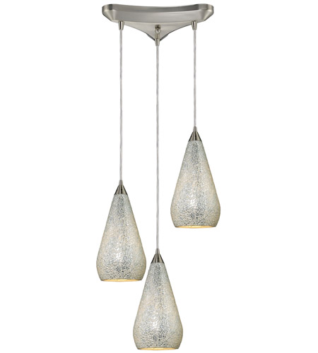 ELK 546-3SLV-CRC Curvalo 3 Light 10 inch Satin Nickel Pendant Ceiling Light in Silver Crackle Glass photo