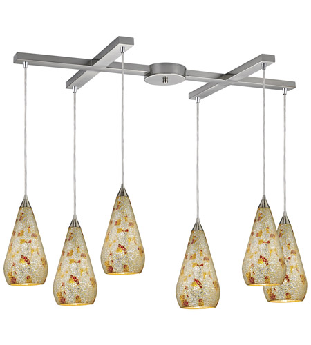 ELK 546-6SLVM-CRC Curvalo 6 Light 33 inch Satin Nickel Pendant Ceiling Light in Silver Multi-Colored Crackle photo