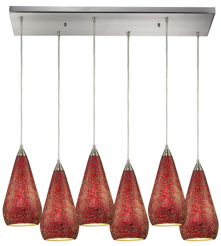 ELK 546-6RC-RBY-CRC Curvalo 6 Light 30 inch Satin Nickel Pendant Ceiling Light in Ruby Crackle Glass photo