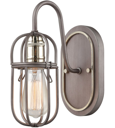 Cage 1 Light 7 Inch Weathered Zinc With Polished Nickel Vanity Wall