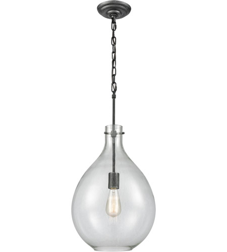 ELK 56640 1 Sunderland Light 12 Inch Silvered Graphite Pendant Ceiling
