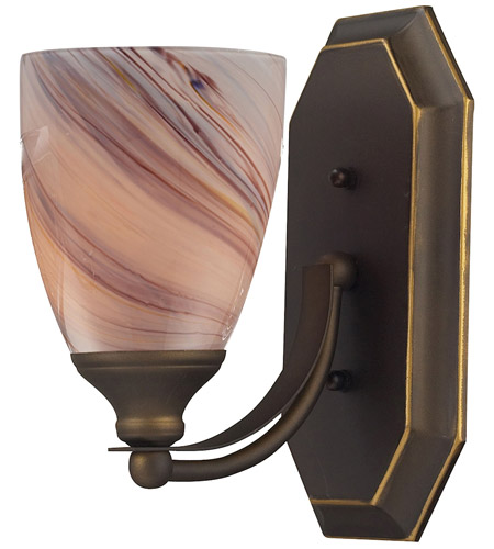 ELK 570-1B-CR Vanity 1 Light 5 inch Aged Bronze Bath Bar Wall Light in Standard, Creme Glass photo