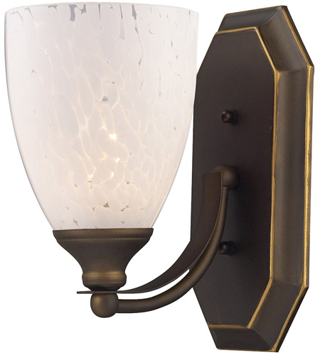ELK 570-1B-SW Vanity 1 Light 5 inch Aged Bronze Bath Bar Wall Light in Standard, Snow White Glass photo