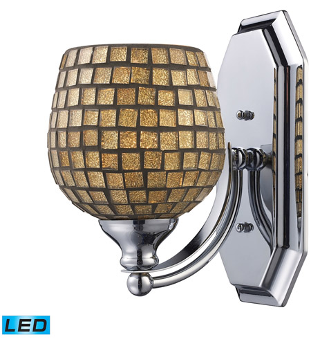 ELK 570-1N-GLD-LED Vanity LED 5 inch Satin Nickel Bath Bar Wall Light in Gold Leaf Mosaic Glass, 1 photo