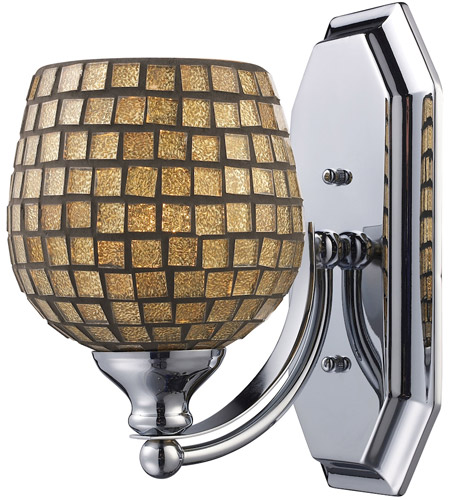 ELK 570-1N-GLD Mix and Match 1 Light 8 inch Satin Nickel Vanity Light Wall Light in Gold Leaf Mosaic Glass, Incandescent photo