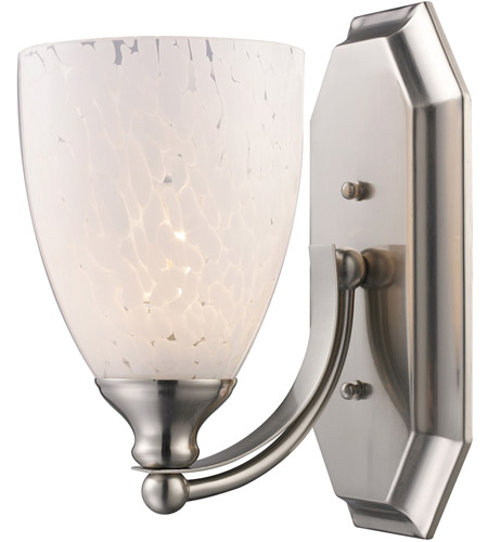 ELK 570-1N-SW Mix and Match 1 Light 8 inch Satin Nickel Vanity Light Wall Light in Snow White Glass, Incandescent photo