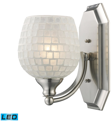 ELK 570-1N-WHT-LED Vanity LED 5 inch Satin Nickel Bath Bar Wall Light in White Mosaic Glass, 1 photo
