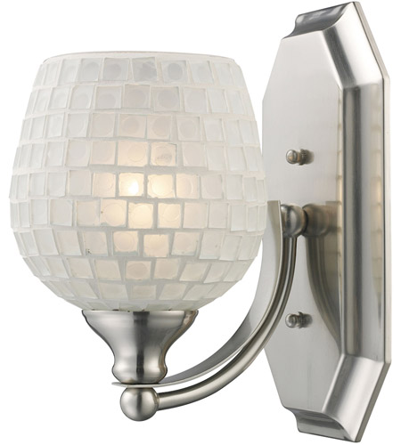 ELK 570-1N-WHT Vanity 1 Light 5 inch Satin Nickel Bath Bar Wall Light in Standard, White Mosaic Glass photo