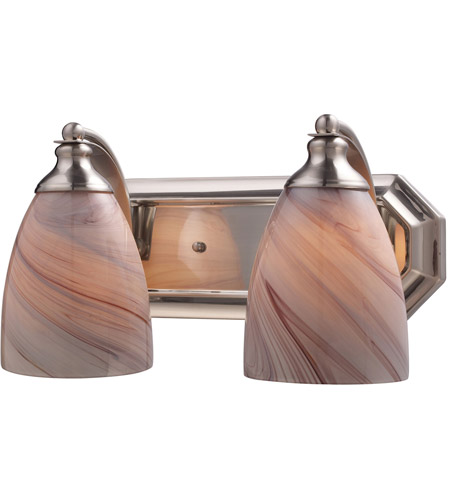 ELK 570-2N-CR Vanity 2 Light 14 inch Satin Nickel Bath Bar Wall Light in Standard, Creme Glass photo