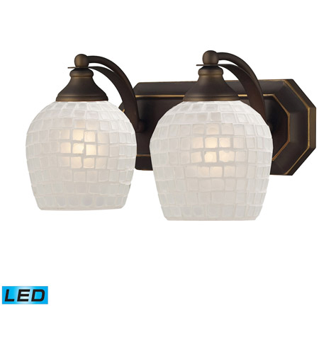 ELK 570-2B-WHT-LED Mix and Match LED 14 inch Aged Bronze Vanity Light Wall Light in White Mosaic Glass, 2 photo