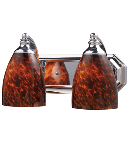 ELK 570-2C-ES Vanity 2 Light 14 inch Polished Chrome Bath Bar Wall Light in Standard, Espresso Glass photo