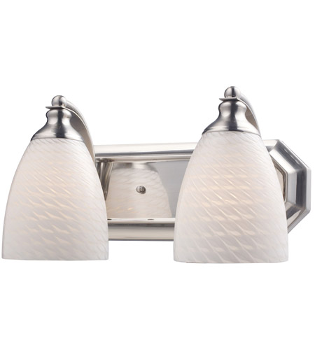 ELK 570-2N-WS Vanity 2 Light 14 inch Satin Nickel Bath Bar Wall Light in Standard, White Swirl Glass photo