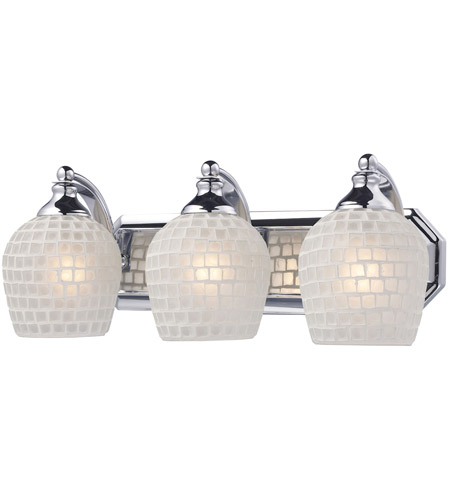 ELK 570-3C-WHT Vanity 3 Light 20 inch Polished Chrome Bath Bar Wall Light in Standard, White Mosaic Glass  photo