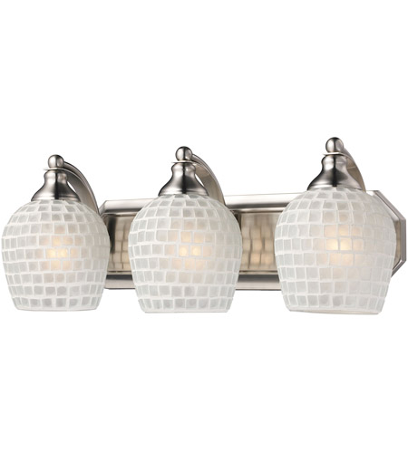 ELK 570-3N-WHT Vanity 3 Light 20 inch Satin Nickel Bath Bar Wall Light in Standard, White Mosaic Glass photo