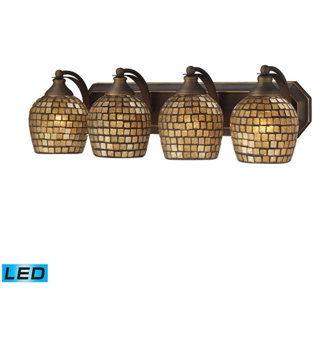 ELK 570-4B-GLD-LED Vanity LED 27 inch Aged Bronze Bath Bar Wall Light in Gold Leaf Mosaic Glass, 4 photo