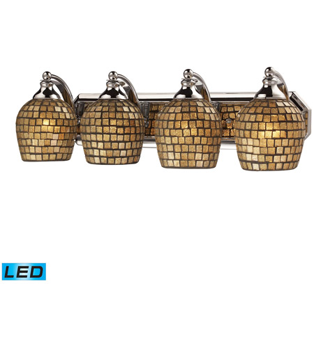 ELK 570-4C-GLD-LED Vanity LED 27 inch Polished Chrome Bath Bar Wall Light in Gold Leaf Mosaic Glass, 4 photo
