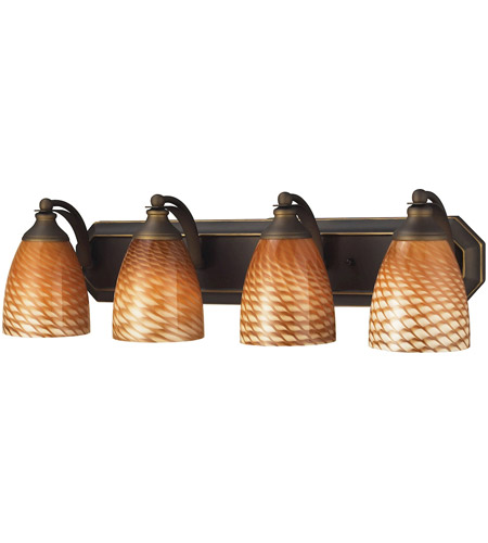 ELK 570-4B-C Vanity 4 Light 27 inch Aged Bronze Bath Bar Wall Light in Standard, Cocoa Glass photo