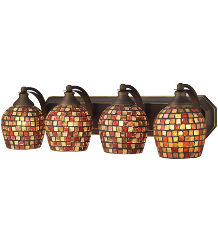 ELK 570-4B-MLT Mix and Match 4 Light 27 inch Aged Bronze Vanity Light Wall Light in Multi Mosaic Glass, Incandescent photo
