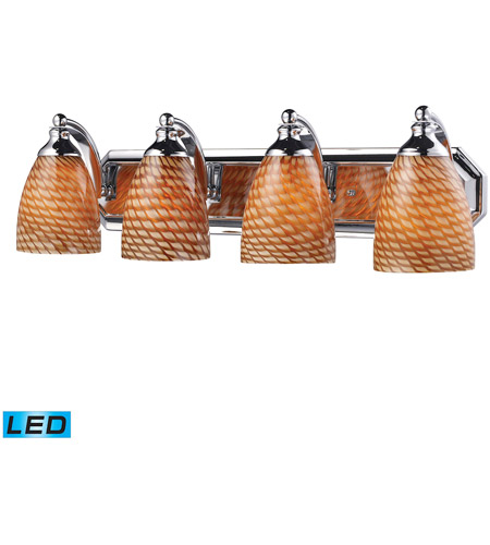 ELK 570-4C-C-LED Vanity LED 27 inch Polished Chrome Bath Bar Wall Light in Cocoa Glass, 4 photo