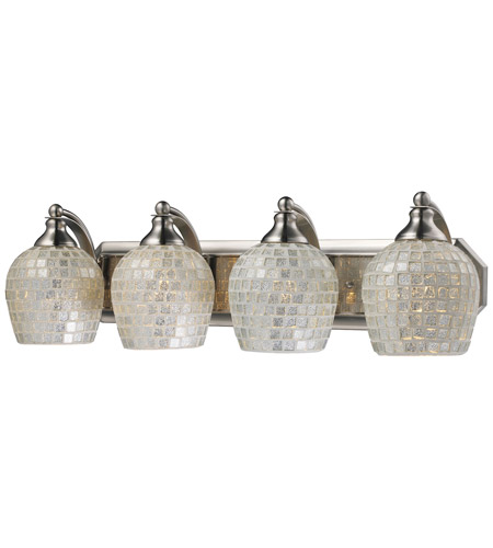 ELK 570-4N-SLV Mix and Match 4 Light 27 inch Satin Nickel Vanity Light Wall Light in Silver Mosaic Glass, Incandescent photo
