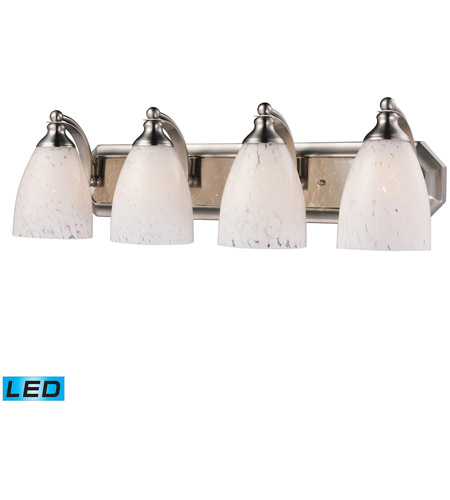 ELK 570-4N-SW-LED Vanity LED 27 inch Satin Nickel Bath Bar Wall Light in Snow White Glass, 4 photo