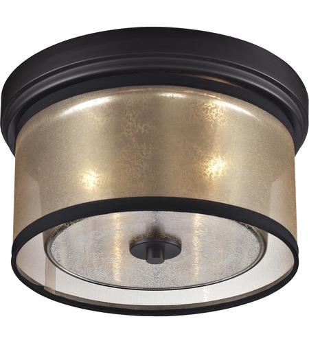 elk diffusion 2 light 13 inch oil rubbed bronze flush mount ceiling light