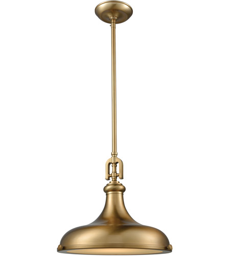elk rutherford 1 light 15 inch satin brass pendant ceiling light