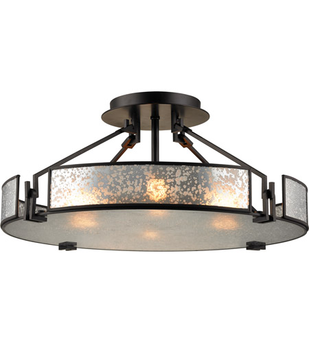 Elk 57091 4 Lindhurst 4 Light 21 Inch Oil Rubbed Bronze Semi Flush Mount Ceiling Light