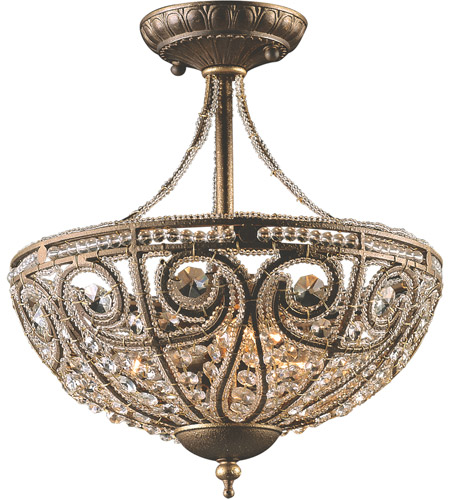 ELK 5964/3 Elizabethan 3 Light 13 inch Dark Bronze Semi Flush Mount Ceiling Light photo