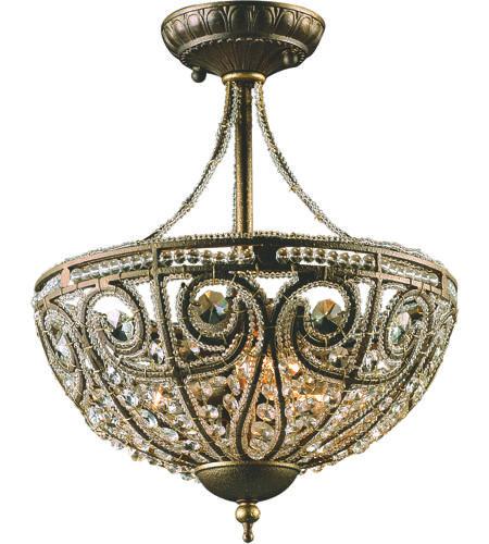 Elk 5964 3 Elizabethan Light 13 Inch Dark Bronze Semi Flush Mount Ceiling