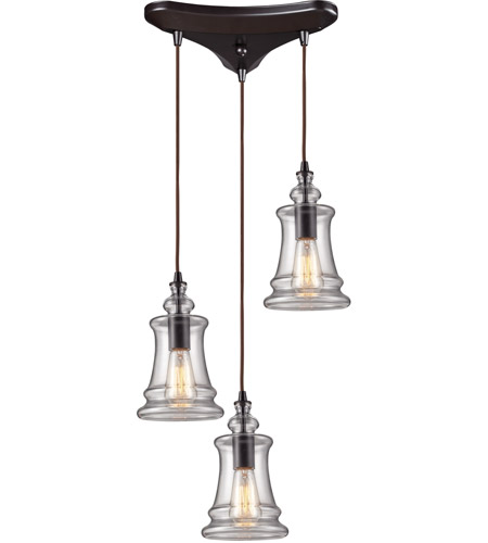 elk menlow park 3 light 10 inch oiled bronze pendant ceiling light photo