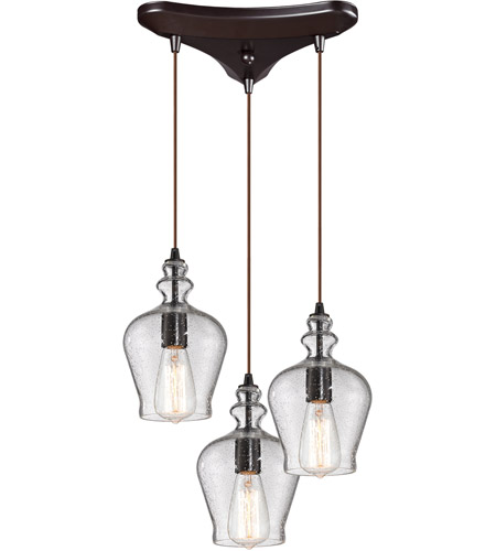 ELK 60066-3 Menlow Park 3 Light 10 inch Oil Rubbed Bronze Pendant Ceiling Light in Triangular Canopy photo